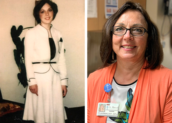 A picture of Dawna Hatton when she started in her career in 1980 next to a picture of her today.